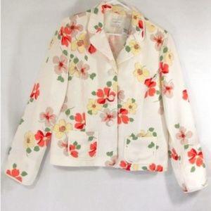 Emma James Womens Blazer Sz 16 Floral Linen Blend
